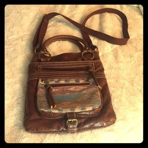 Maurice's brown and western print crossbody